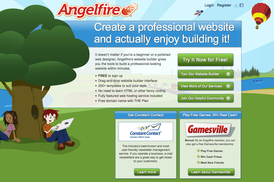 Angelfire.com screen shot