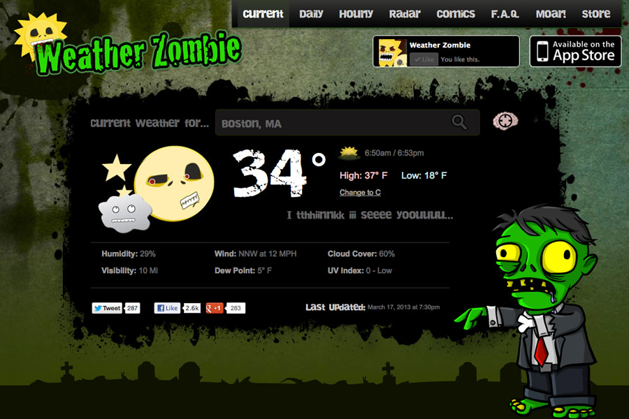 Weather Zombie.com screen shot